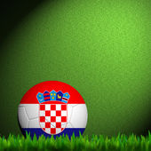 3D Football Croatia Flag Patter in green grass — Stock Photo