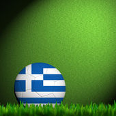 3D Football Greece Flag Patter in green grass — Stock Photo