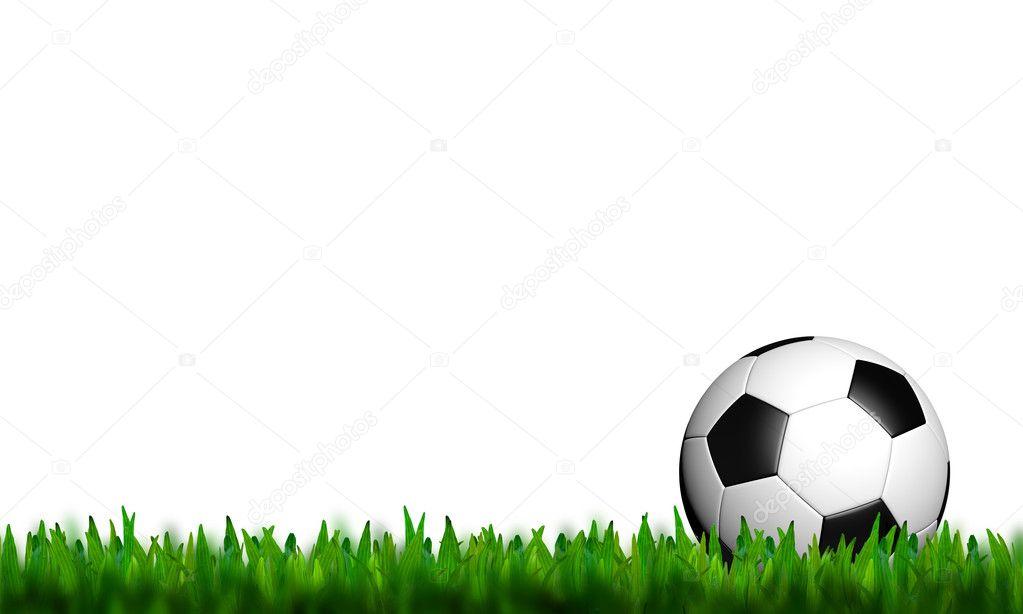 Deportes Pelotas Fondo Grunge: Fútbol En Pasto Verde Sobre Fondo Blanco
