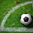 Stock Photo: Soccer Ball on Corner Kick from top view