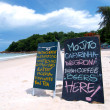 Blackboard coffee menu on the beach - 图库照片