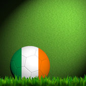 3D Football Ireland Flag Patter in green grass — Stock Photo