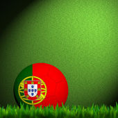 3D Football Portugal Flag Patter in green grass — Stock Photo