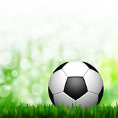 3D Football in green grass and background — Stock Photo
