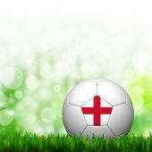 3d ποδοσφαίρου αγγλίας σημαία κορακίστικα στο πράσινο γρασίδι και φόντο — Φωτογραφία Αρχείου