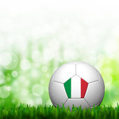 3D Football Italy Flag Patter in green grass and background — 图库照片