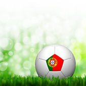 3D Football Portugal Flag Patter in green grass and background — Stock Photo