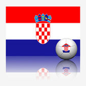 Croatia soccer football and flag with reflect on white backgroun — Stock Photo