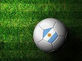 Argentinië vlag patroon 3d-weergave van een voetbal in groene gr — Stockfoto
