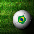 Brazil Flag Pattern 3d rendering of a soccer ball in green grass — Stockfoto