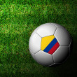 Colombia Flag Pattern 3d rendering of a soccer ball in green gra - Стоковая фотография