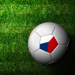 Czech Flag Pattern 3d rendering of soccer ball in green grass — Stockfoto #12241994