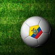 Ecuador Flag Pattern 3d rendering of a soccer ball in green gras — Stock Photo