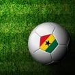 Ghana Flag Pattern 3d rendering of a soccer ball in green grass — Stock Photo