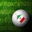 Iran Flag Pattern 3d rendering of a soccer ball in green grass — Stock Photo