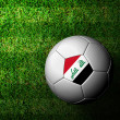 Stock Photo: Iraq Flag Pattern 3d rendering of soccer ball in green grass