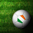 Ireland Flag Pattern 3d rendering of a soccer ball in green gras — Stock Photo