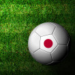 Japan Flag Pattern 3d rendering of a soccer ball in green grass — Stock Photo #12244193