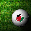 Jordan Flag Pattern 3d rendering of a soccer ball in green grass — Stock Photo