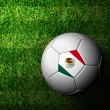 Mexico Flag Pattern 3d rendering of a soccer ball in green grass — Stock Photo #12244926