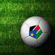 Sudan Flag Pattern 3d rendering of a soccer ball in green grass — Stock Photo