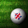 United Kingdom Flag Pattern 3d rendering of a soccer ball in gre — Stock Photo