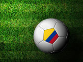Colombia Flag Pattern 3d rendering of a soccer ball in green gra — Stock Photo