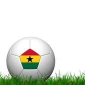 3D Soccer balll Ghana Flag Patter on green grass over white bac — Stock fotografie