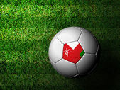 Oman Flag Pattern 3d rendering of a soccer ball in green grass — Stock Photo