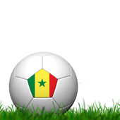 3D Soccer balll Senegal Flag Patter on green grass over white ba — Foto de Stock