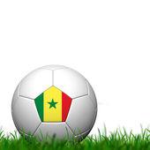 3D Soccer balll Senegal Flag Patter on green grass over white ba — Stock Photo