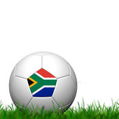 3D Soccer balll South Africa Flag Patter on green grass over whi — Stock Photo