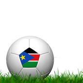 3d fußball balll sudan fahne patter auf grünem gras über rückseite weiß — Stockfoto