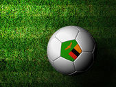 Zambia Flag Pattern 3d rendering of a soccer ball in green grass — Stock Photo
