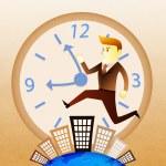 Conceptuele afbeelding - zakenman uitvoeren op het gebouw in drukke uren — Stockfoto