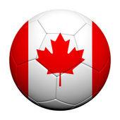 カナダの旗のパターン、サッカー ボールの 3 d レンダリング — ストック写真