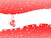 Red Christmas bell on snow background with white space — Stock Photo