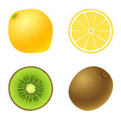 Lemon and kiwi — Stock Vector