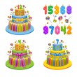 Vector illustration - set of birthday pies with candles — Stock Vector