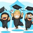 School-College Graduation Cartoon — Stock Vector