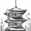 Stok Vektör: Sketch of Japan Landmark - Kiyomizu Temple