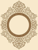 Vintage Floral Circle Ornament — Stock Vector