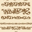 Javanese Vintage Floral Ornament Set 1 - Stock Vector