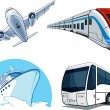 Stock Vector: Travel Transportation Set - Airplane, Bus, Cruise Ship, and Train