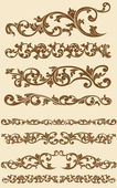 Javanese Vintage Floral Ornament Set 1 — Stock Vector