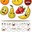 Funny Fruit with Expression — Stock Vector