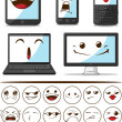 Gadget (Smart Phone, Laptop, Computer) with Funny Expression — Stock Vector #11591403