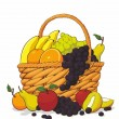 Variety of Fresh Fruits in The Wooden Basket - Stock Vector
