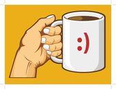 Hand Holding Coffee Mug — Stock Vector