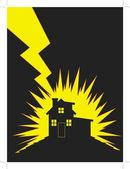 House Struck by Lightning — Stock Vector